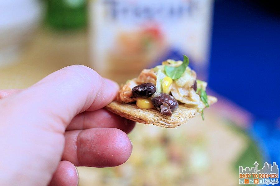 My 3-Ingredient Triscuit Challenge: Southwest Veggie Caviar, Chicken, and BBQ Ranch Dressing