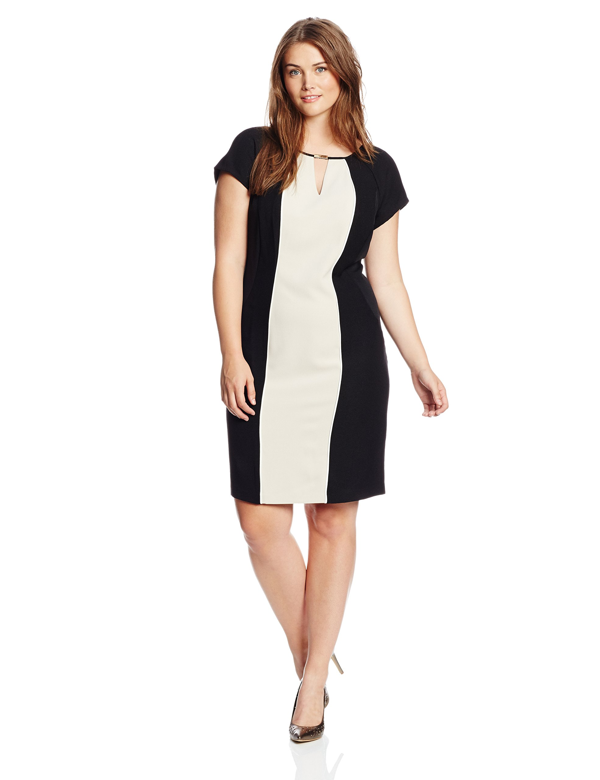 Sandra Darren Women's Plus-Size Color Block Dress in Champagne and Black