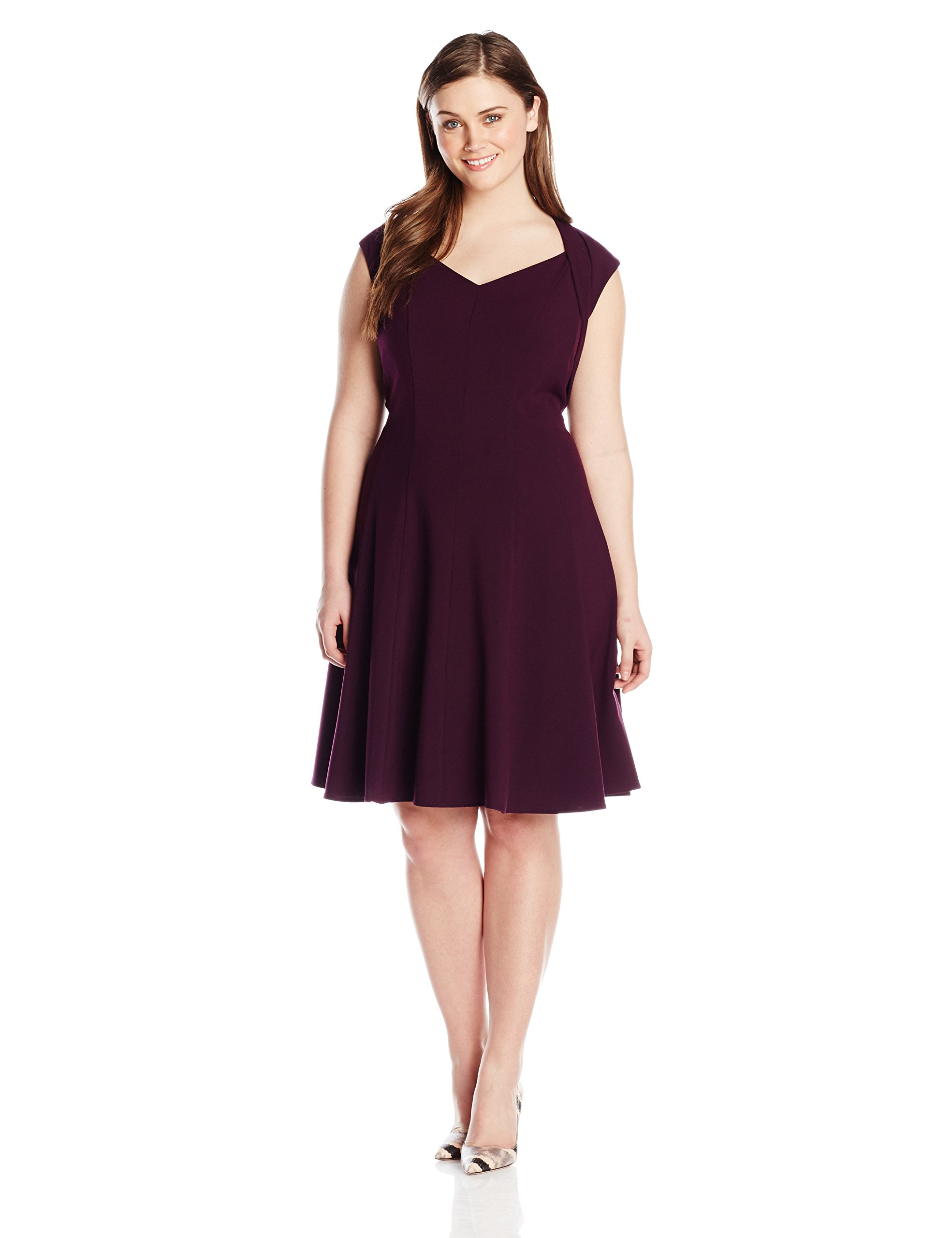 Calvin Klein Women's Plus-Size V-Neck Fit and Flare Dress in Aubergine