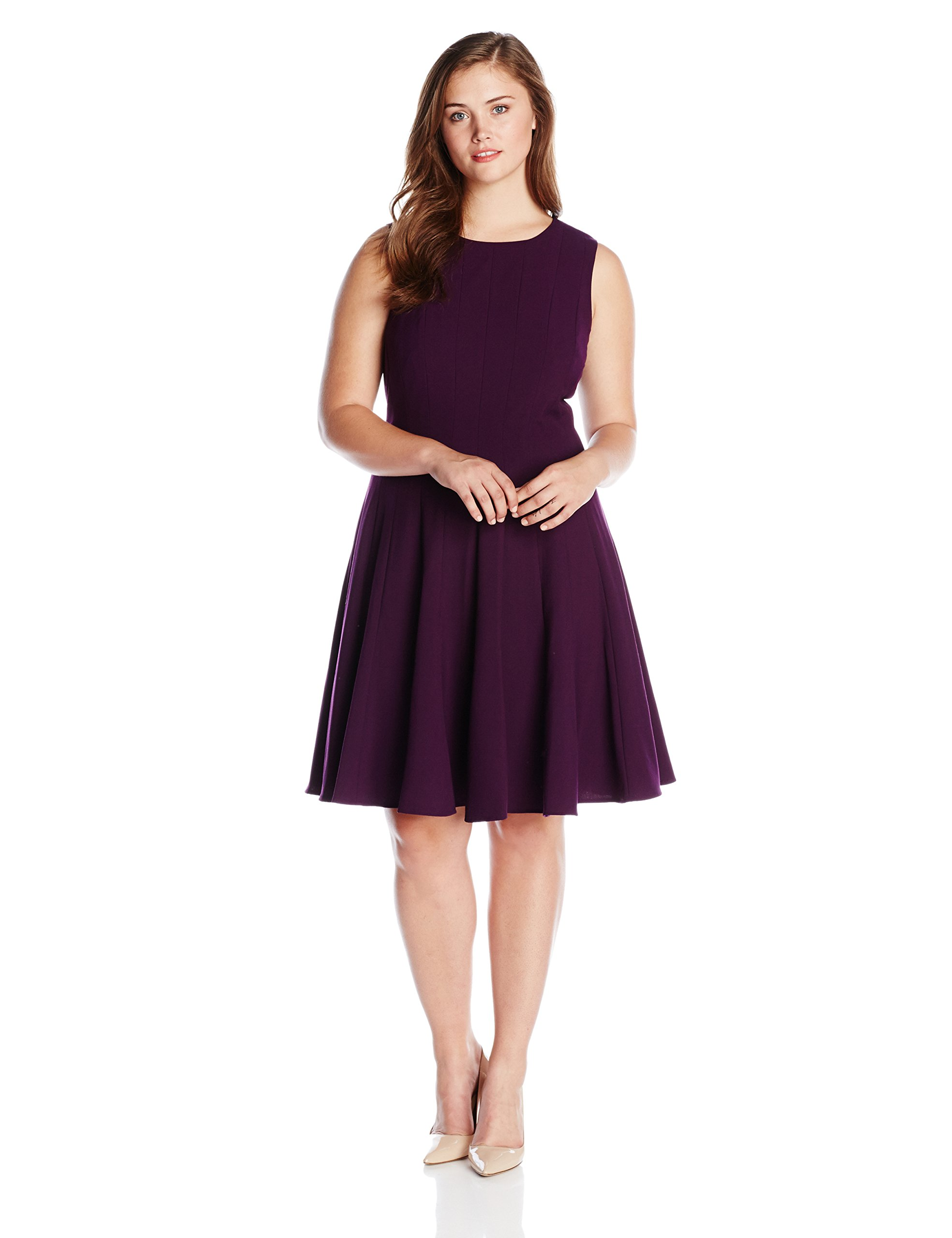 Calvin Klein Women's Plus-Size Solid Flare Sleeveless Dress in Currant