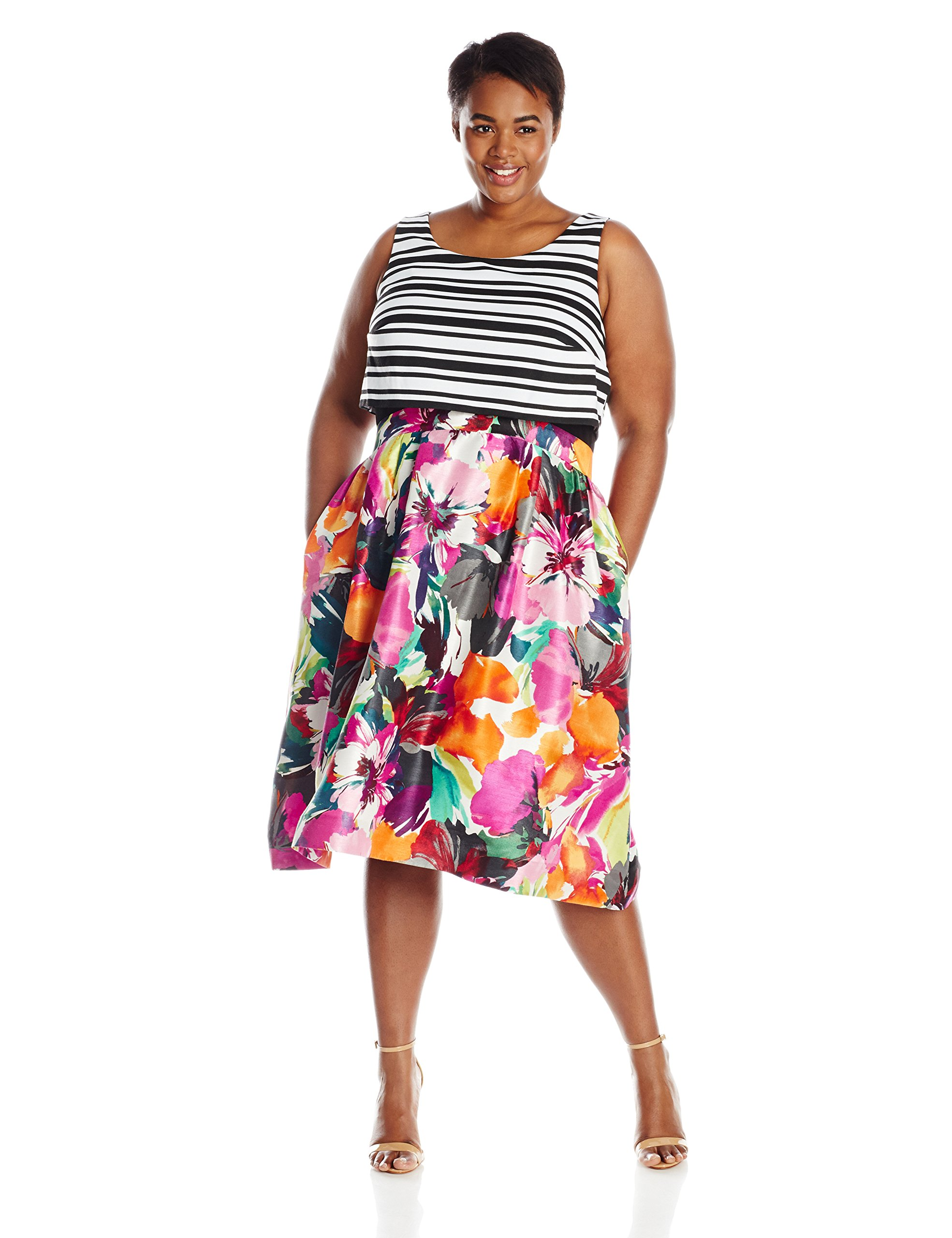 632cedfd2ab Taylor Dresses Women s Plus-Size Popover Midi Dress in Dual Fabric  Black Multicolored Floral