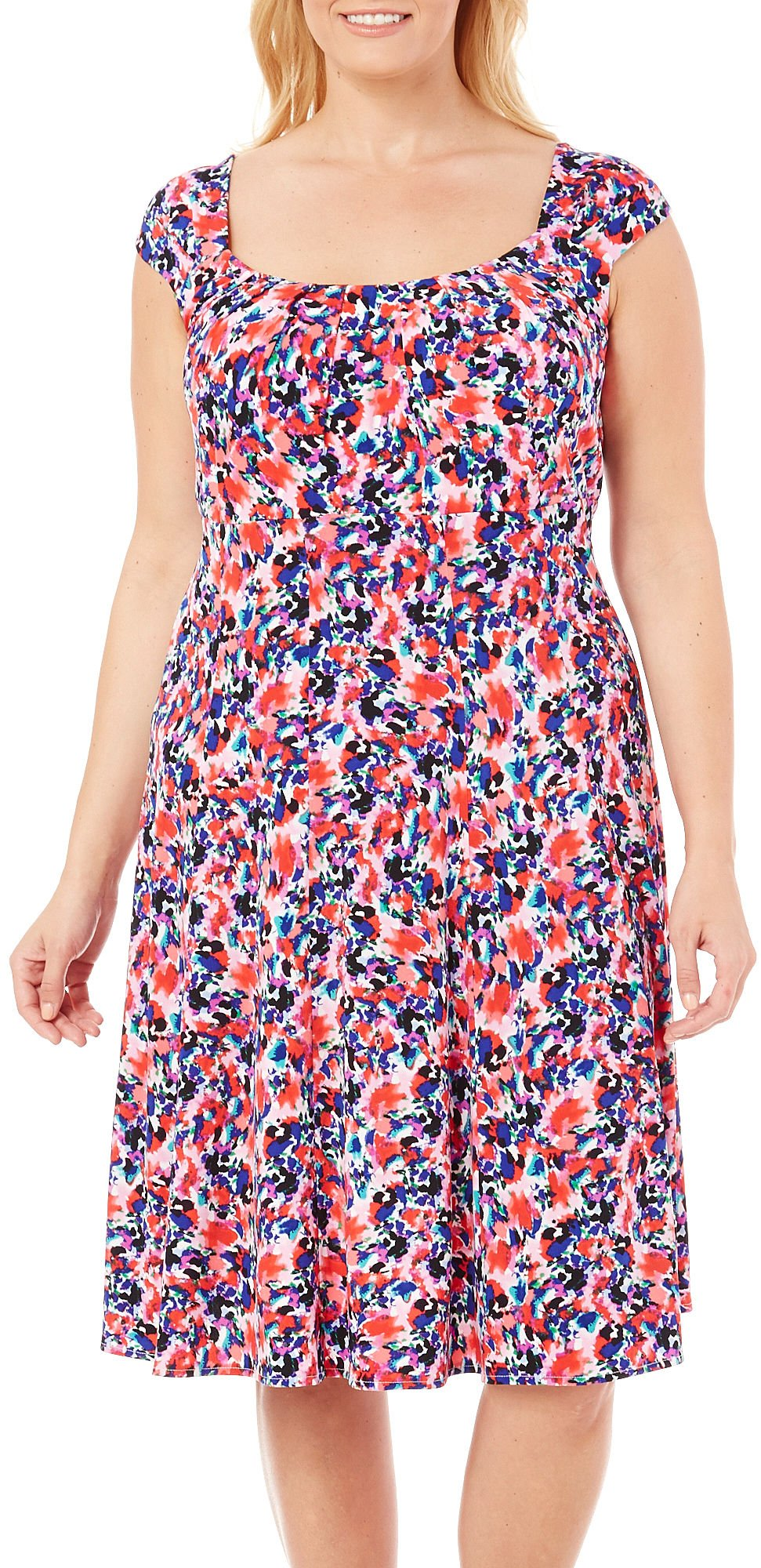 London Times Women's Plus Size Fit and Flare Dress with Cap Sleeves
