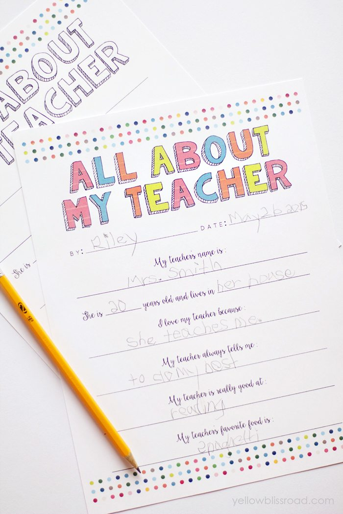 All About My Teacher Printable Gift
