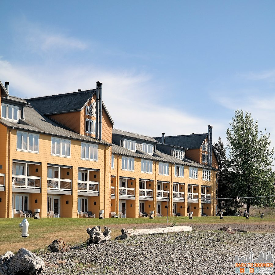Direct access to the lawn and beach area from our room at Semiahmoo.