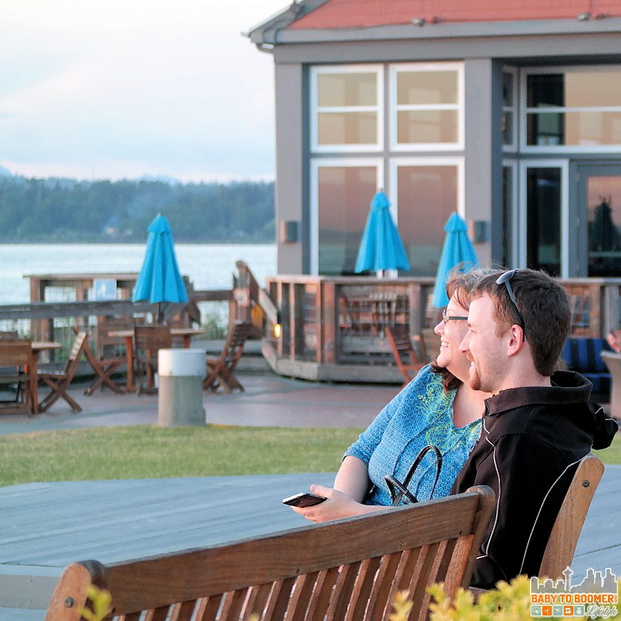 My son and I watching the sunset the at Semiahmoo Resort