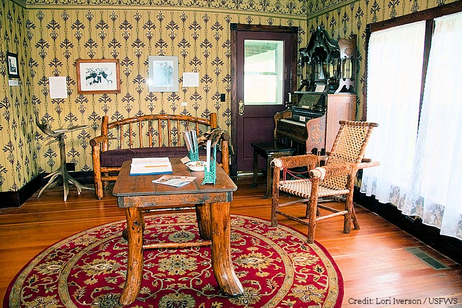 Furnished room, Miller Homestead  Traditionally-Furnished Room in the Historic Miller House Displays in the Miller House focus on homesteading and the establishment of the National Elk Refuge in Wyoming.   Credit: Lori Iverson / USFWS