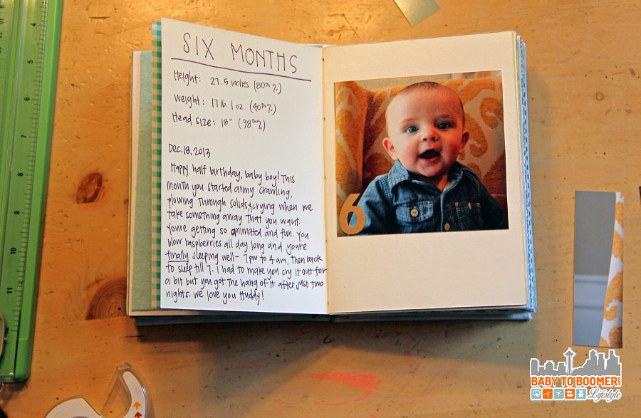 six month milestone in the baby book