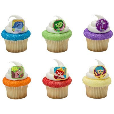 "DISNEY - Pixar ""INSIDE OUT"" 24-piece Birthday Cupcake RING Topper Featuring Riley's 5 Emotions: Fear, Sadness, Joy, Anger, Disgust, and Imaginary Friend Bing Bong."