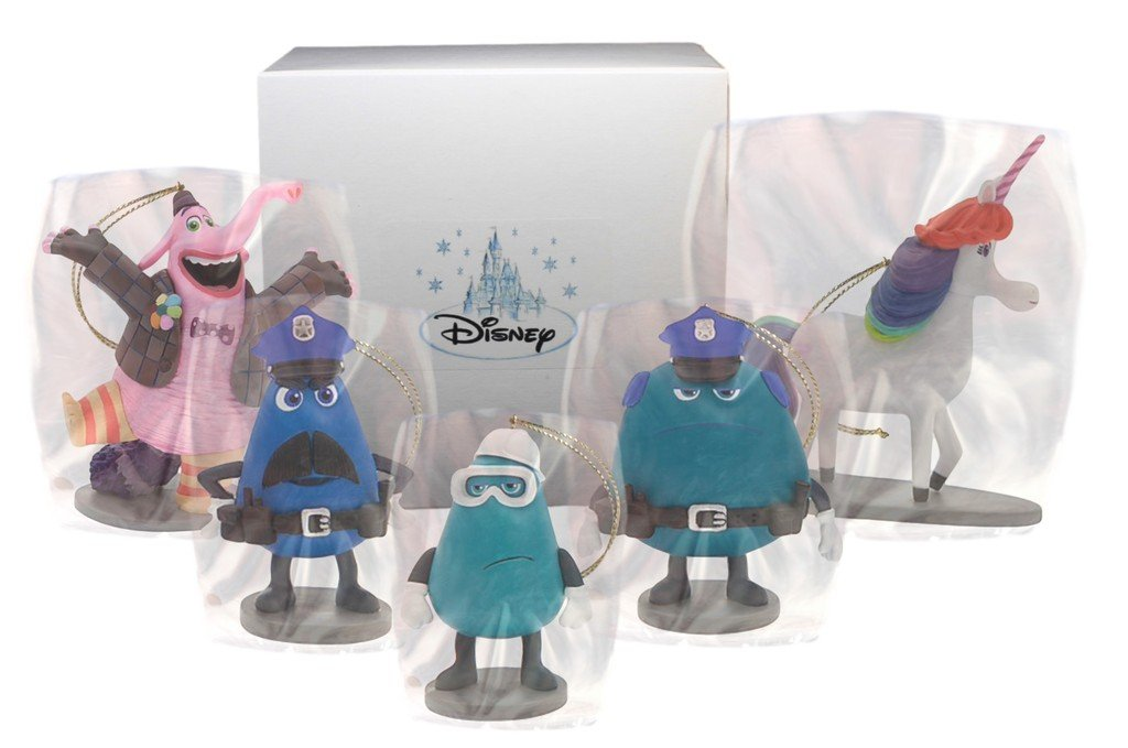 "Disney ""Inside Out"" Bing Bong, Rainbow the Unicorn, Dave, Frank & Bobby 5 PC. Ornament"
