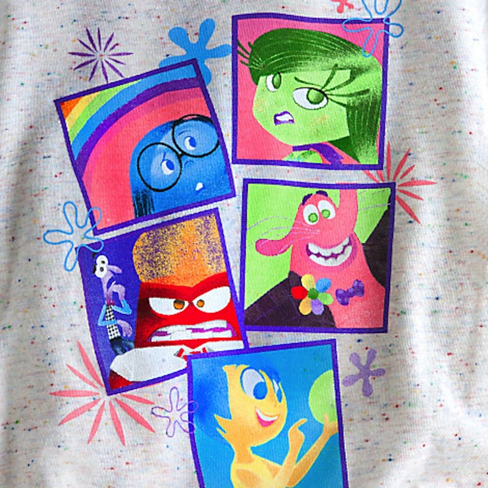 "Girl's ""Inside Out"" character t-shirt..It highlights Joy, Anger, Bing Bong, Sadness, and Disgust."