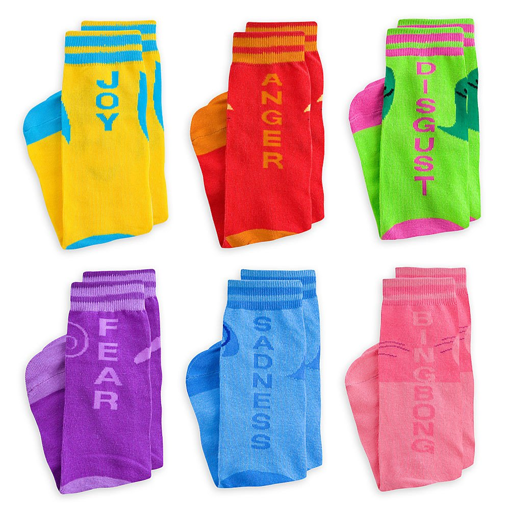 Disney Store Deluxe Inside Out Sock Set 6 Pairs including Anger, Fear, Sadness, Disgust, Joy, and Bing Bong!