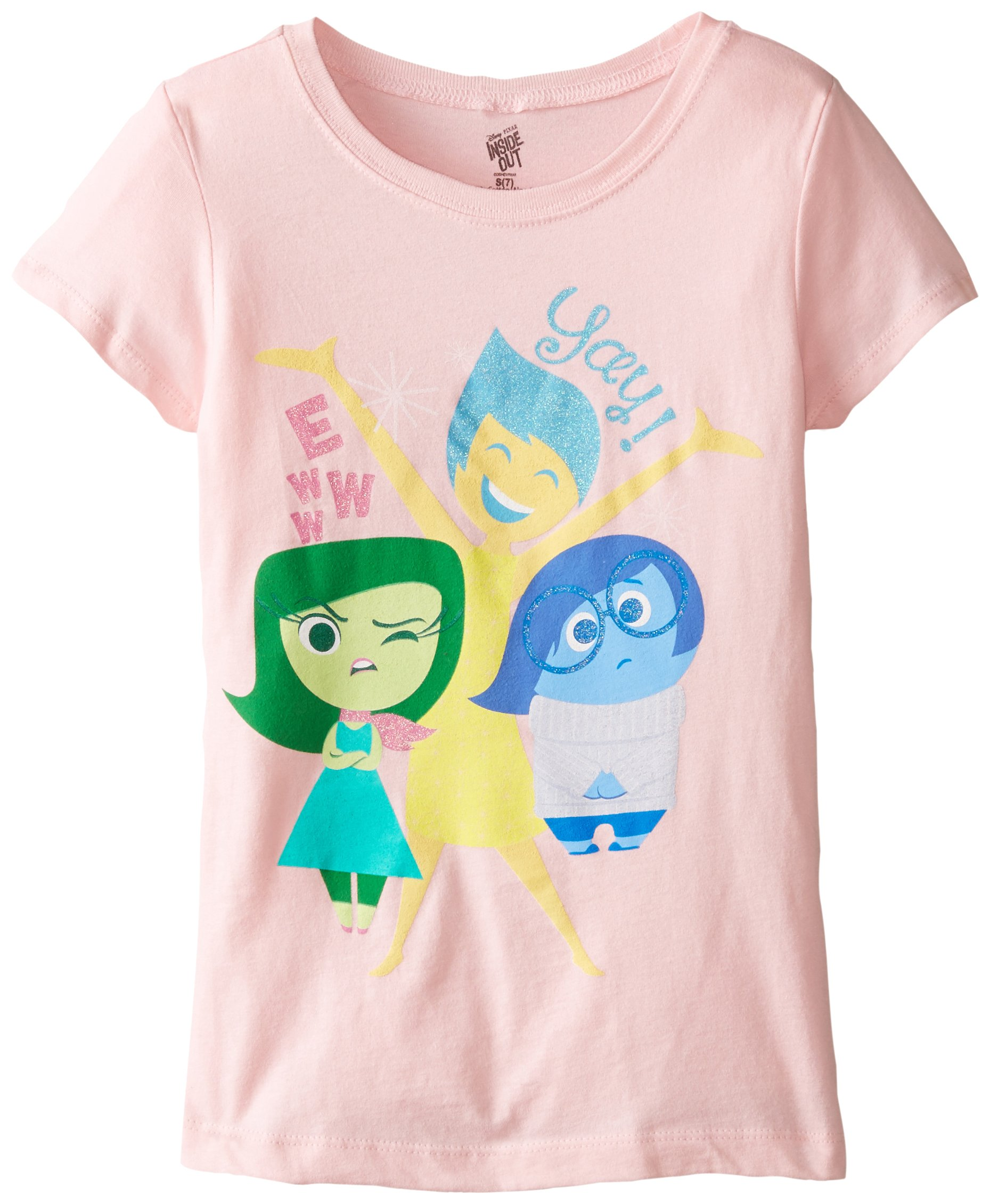 Girls Disney Inside Out Ewwww Yay Disgust Joy and Sadness Tee in Light Pink