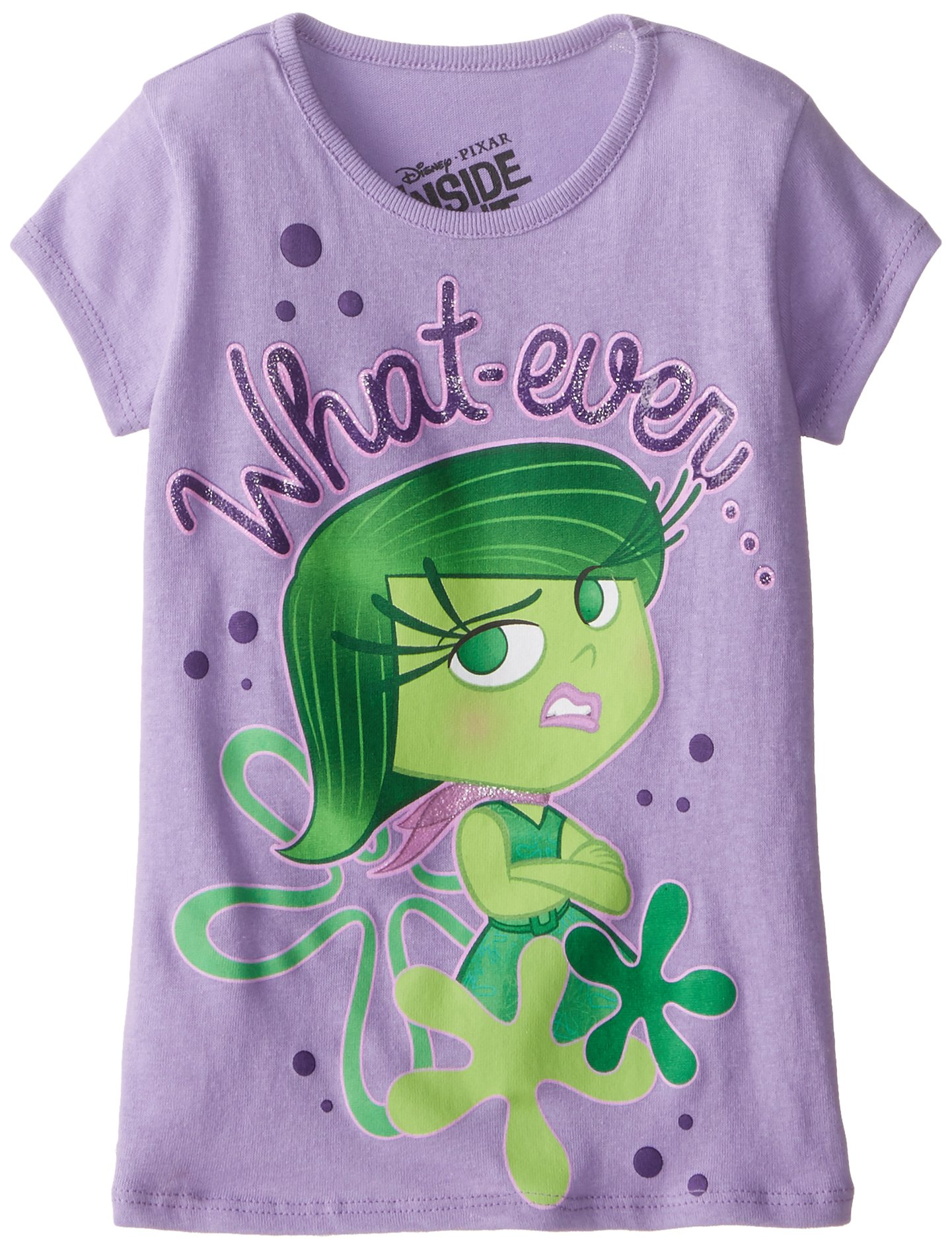 """Extreme Concepts Little Girls' Inside Out Disgust Short Sleeve Tee - """"Whatever"""" in purple"""