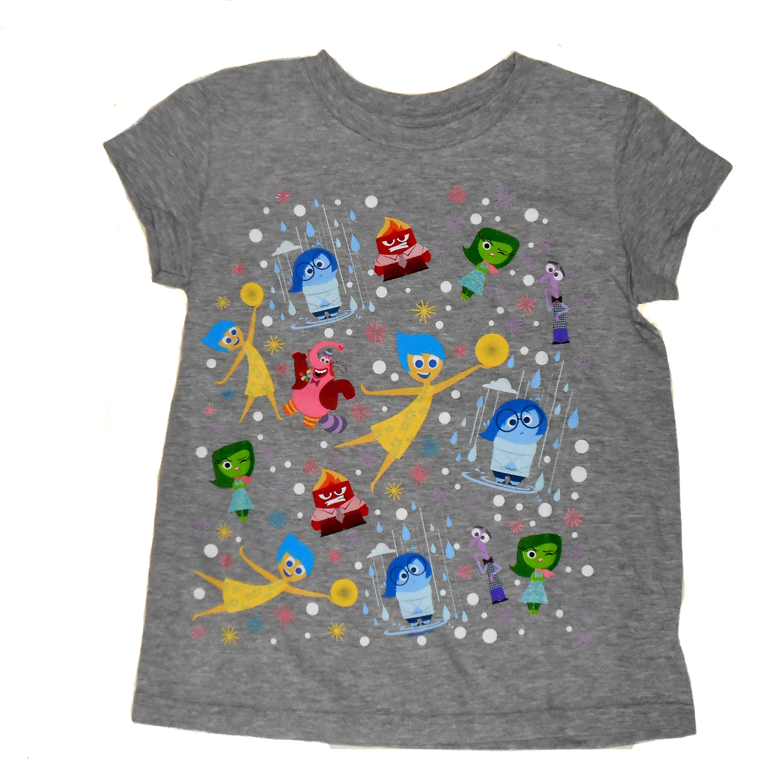 Disney Pixar Girls Inside Out Character T-Shirt - features Sadness, Joy, Disgust, Fear, Anger, and Bing Bong (the imaginary friend)