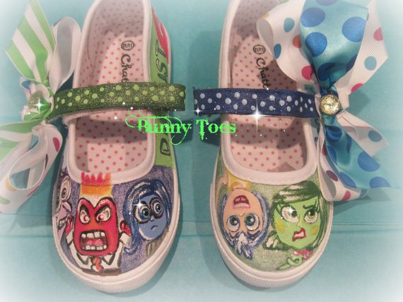 These are hand painted shoes by Bunny Toes. Such incredible talent! I love that she adds bows to finish them and that the colors are character driven. She charges by the character and creates both girls and boys shoes. Purchase these at Bunny Toes.