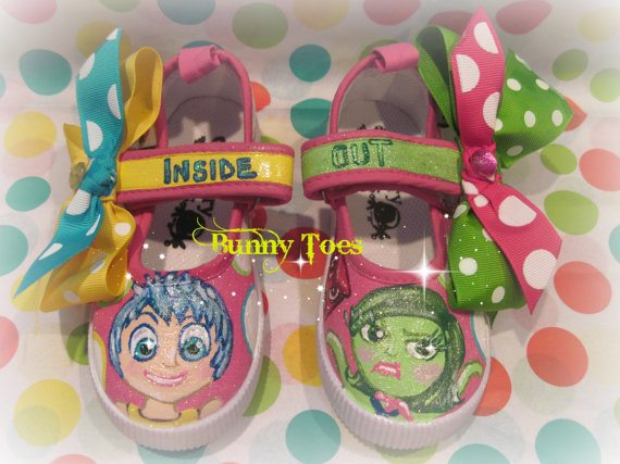 Custom Handpainted INSIDE OUT Joy & Disgust Shoes by Bunny Toes