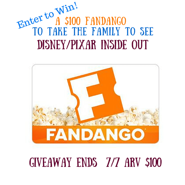 Fandango INSIDE OUT $100 Gift Card Giveaway!