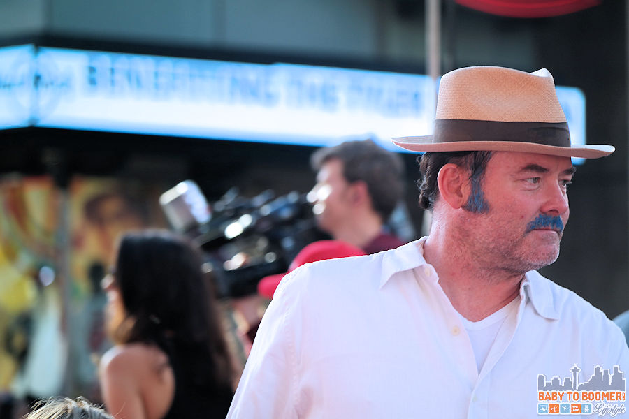 Actor David Koechner   (who stopped at the kid's hair chalking booth on the way)  at the Disney   Pixar INSIDE OUT Movie Premiere - Hollywood, CA