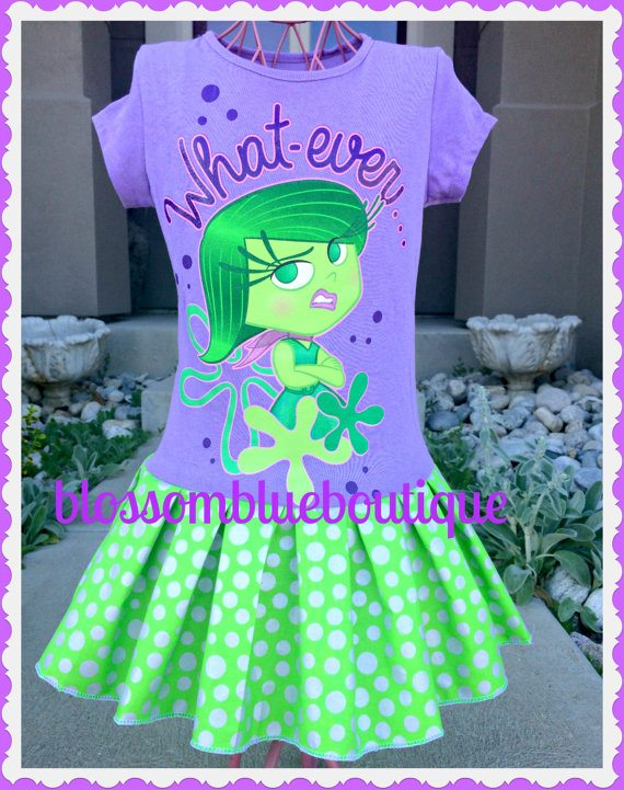I love the character, Disgust! Her purple t-shirt is accented with her signature color, lime green! Available from Blossom Blue Boutique.