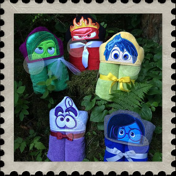 Disney|Pixar INSIDE OUT Personalized Hooded Towels - choose your favorite character! Disgust, Joy, Sadness, Fear, or Anger. Purchase at The Bow Gallery 1