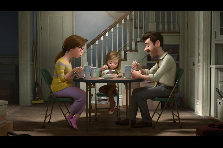 Disney|PIxar INSIDE OUT movie still - Mom, Dad, and Riley at dinner - #insideoutevent  ad