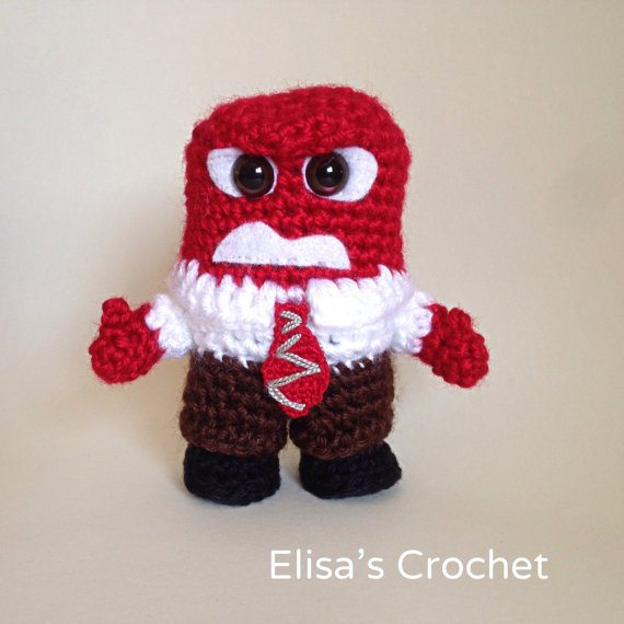 Crochet pattern for an Anger doll from INSIDE OUT. The pattern written instructions in standard US crochet terms with step-by-step photos. For all crochet levels. Download it from Elisas Crochet