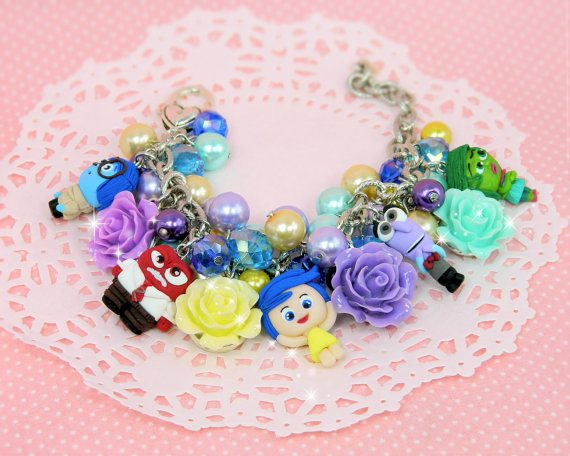 INSIDE OUT Craft Finds - This handmade INSIDE OUT bracelet is adorable! It's entirely handmade from polymer clay so you can personalize it with your favorite colors or characters. In sizes from infant to adults Have yours created at GambizzleJewels.
