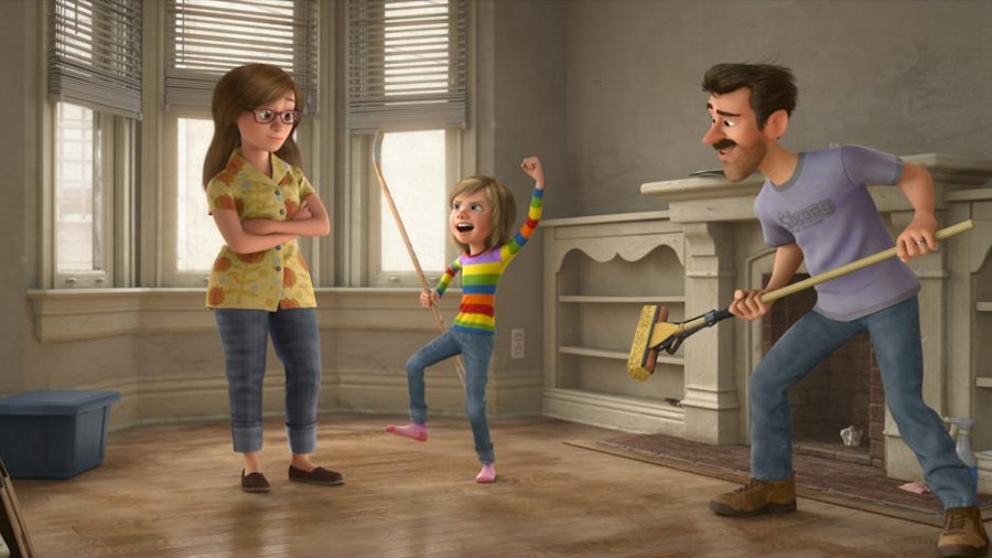 Pixar Inside Out Movie Still - Riley, Mom and  Dad having fun in their new home.  Photo Credit: Disney|Pixar