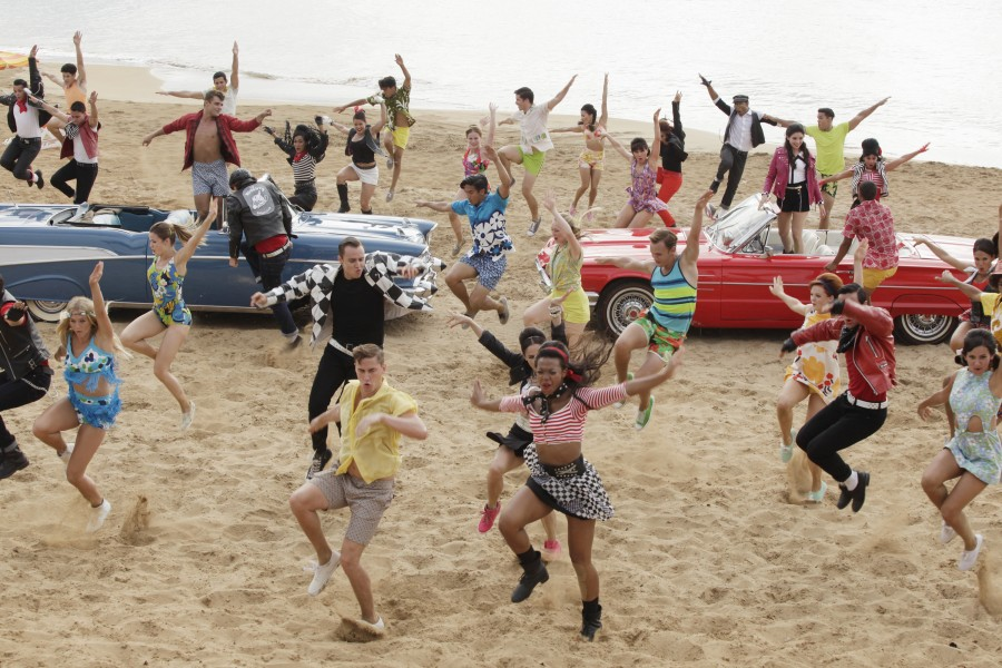TEEN BEACH 2 - Day 2. (Disney Channel/Francisco Roman).MOLLEE GRAY, GARRETT CLAYTON, WILL LOFTIS, KENT BOYD, GRACE PHIPPS   TEEN BEACH 2 DVD ad