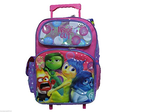 Disney-Pixar Large INSIDE OUT Rolling Backpack - Silver accents and features Anger, Disgust, Joy & Sadness. Pink and Purple.