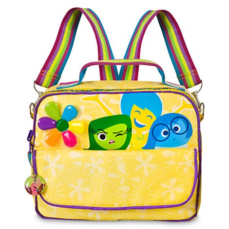 Disney's INSIDE OUT 2-in-1 Backpack and Messenger Bag - we love this one for its ability to be worn as a backpack, strapped cross-body as a messenger bag or carried by hand. Plus it gets points for a cute style and Bing Bong on the zipper charm. Joy, Disgust, and Sadness are featured with a rainbow strap and colored gemstones in the shape of a flower. A yellow background pattern of white flowers makes this one unique.