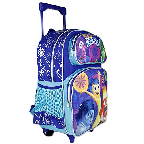 "Disney/Pixar INSIDE OUT - 16"" School Rolling Backpack - Riley's Emotions - all five represented. Plenty of zippered pockets for storage."