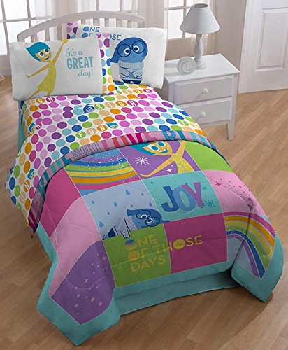 "Disney-Pixar Inside Out ""Rainbow Patchwork"" Bedding - ""It's a Great Day!"" - Kids Character Themed Bedroom Decor - Sadess and Joy"
