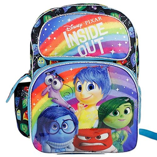 "Disney Pixar INSIDE OUT - Riley's Emotions 16"" School Backpack - we love the coordinating pattern on this school bag. All five of Riley's emotions are here - Anger, Sadness, Disgust, Fear, and Joy."