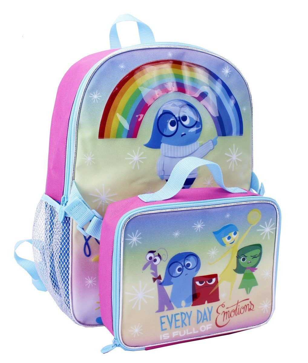 Disney/Pixar INSIDE OUT Pastel Lunch Bag & Backpack Combo - All five emotions, rainbow, and Sadness highlight.