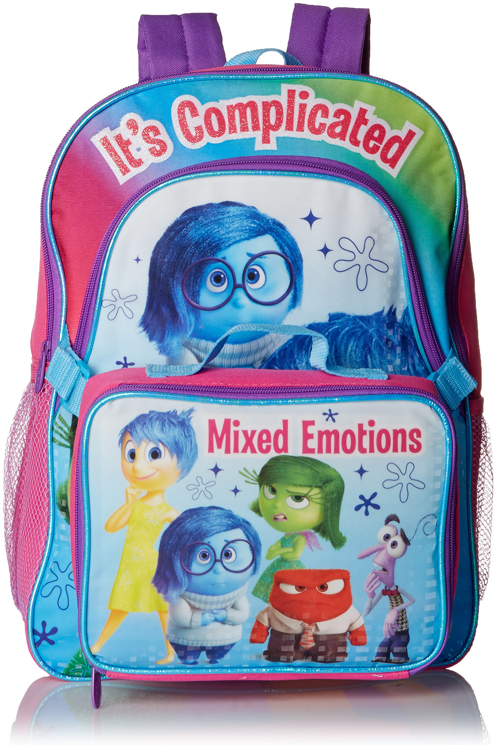 Disney Girl's Deluxe INSIDE OUT Backpack and detachable Lunch Kit - All five emotions & Sadness highlight