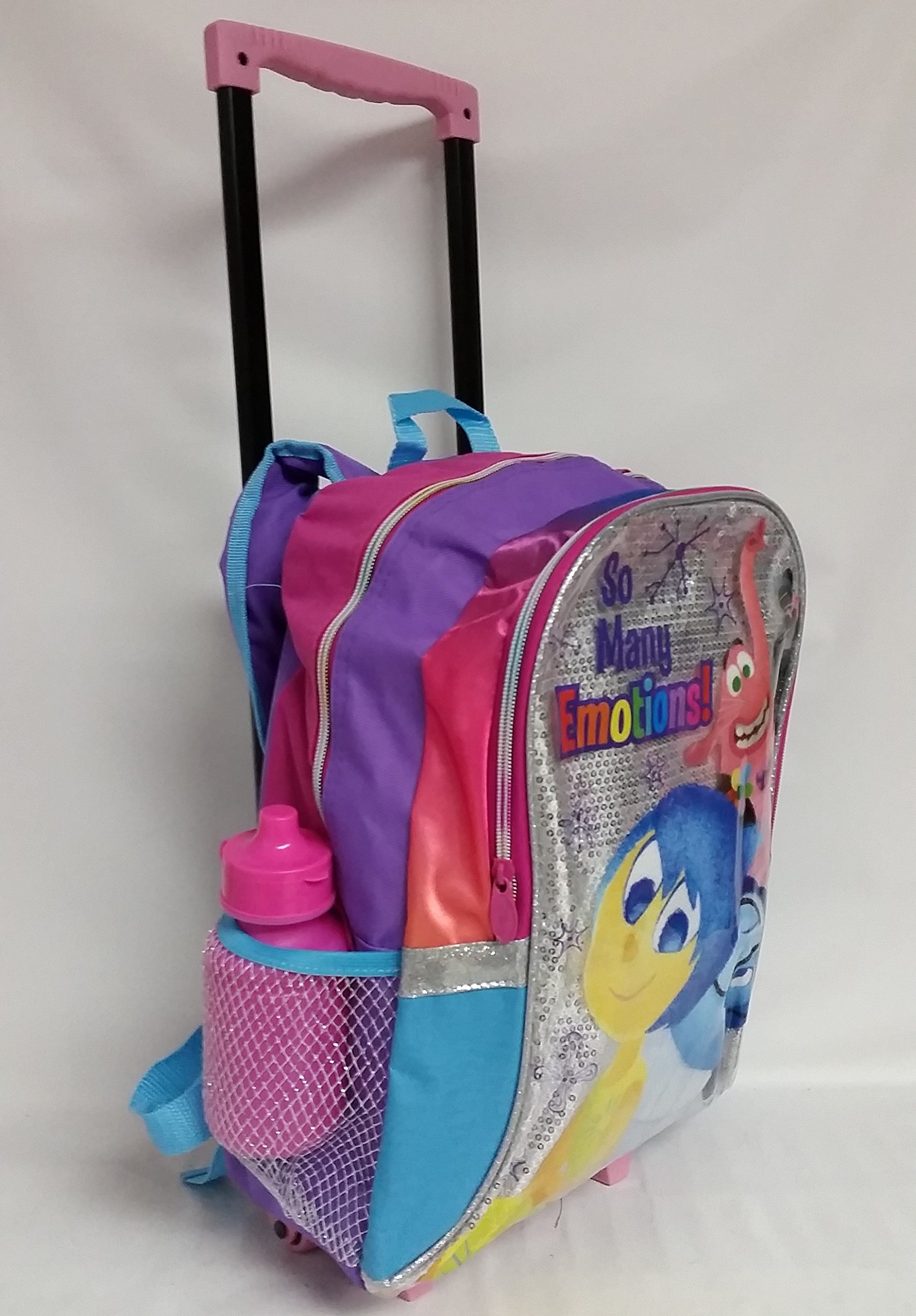 Glittering INSIDE OUT Rolling Backpack - Bing Bong, Joy & Sadness on this one.