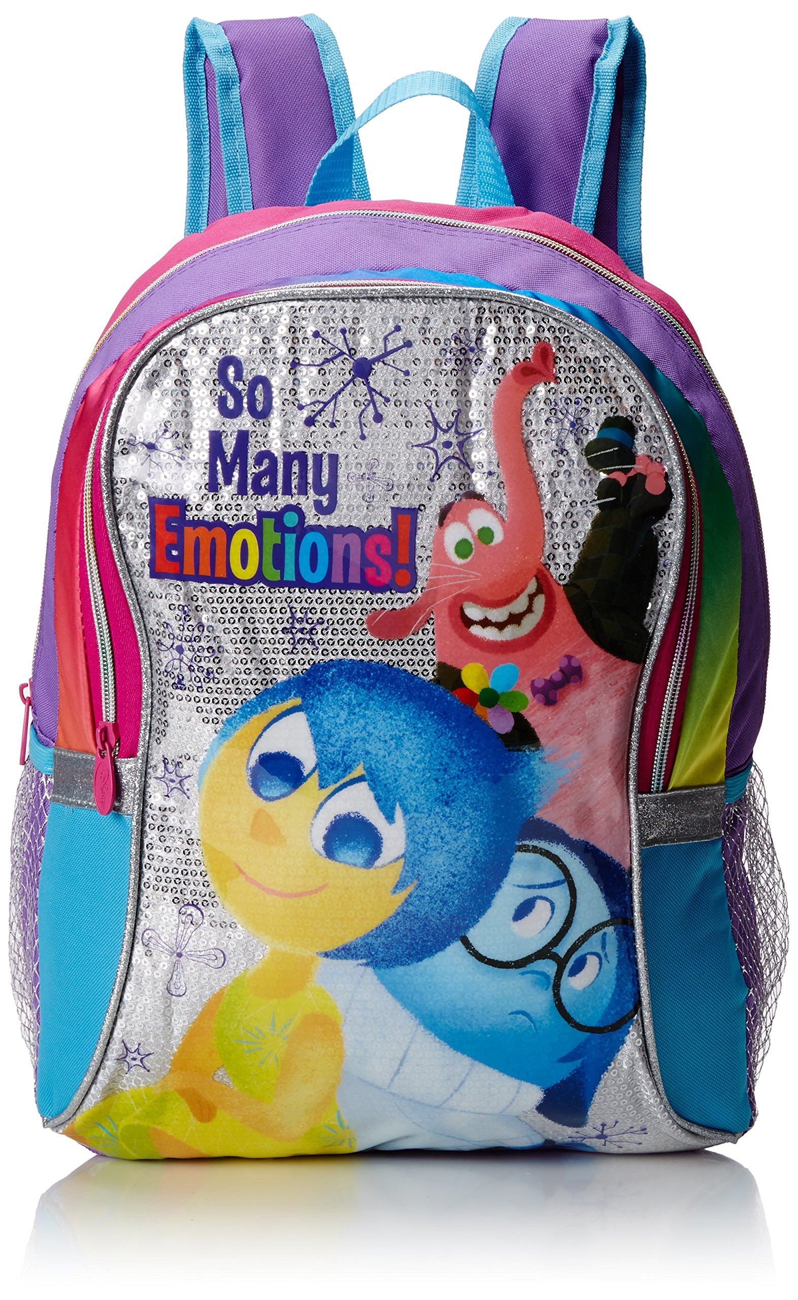 """Disney Girl's INSIDE OUT """"So Many Emotions!"""" Backpack - Sparkle accents with teal, pink, orange, and purple accents. Joy, Sadness, and Bing Bong decorate this one."""