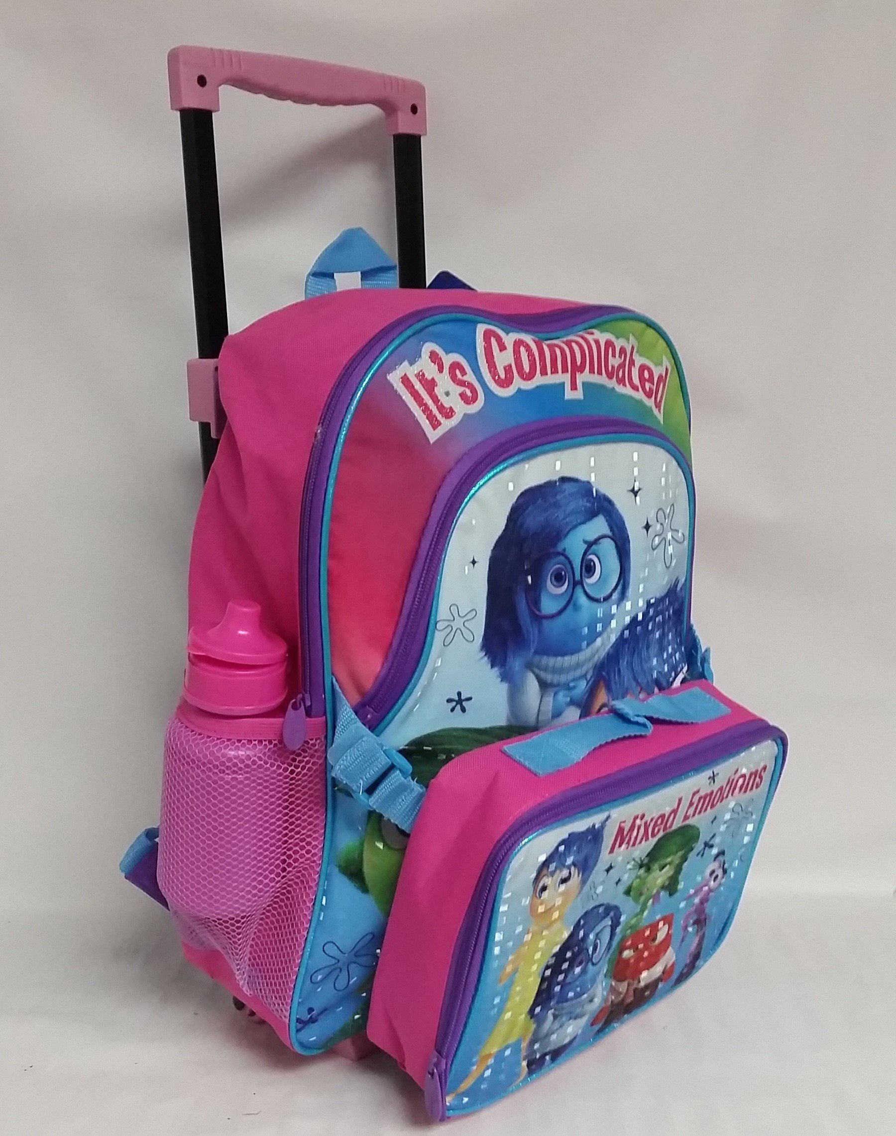 INSIDE OUT Rolling Backpack, Lunchbag, and Water Bottle - All five emotions are on the lunch bag, Joy, Sadness, and Disgust on the backpack.
