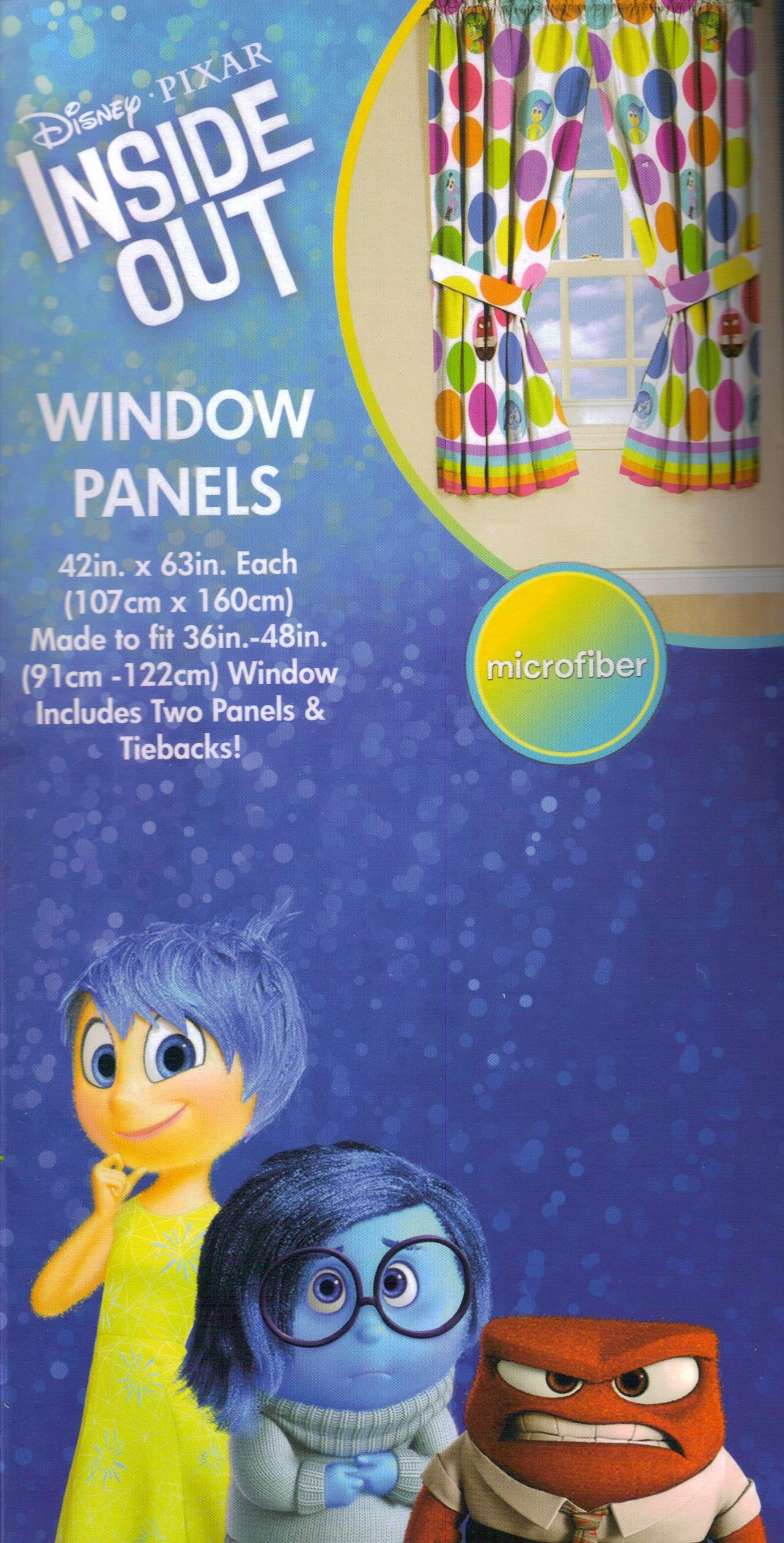 Disney Pixar INSIDE OUT Dots Curtains - Set of 2 Window Panels