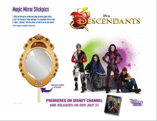 Superb Disney Descendants Premiere Party Magic Mirror Stickpicks   Free Printable