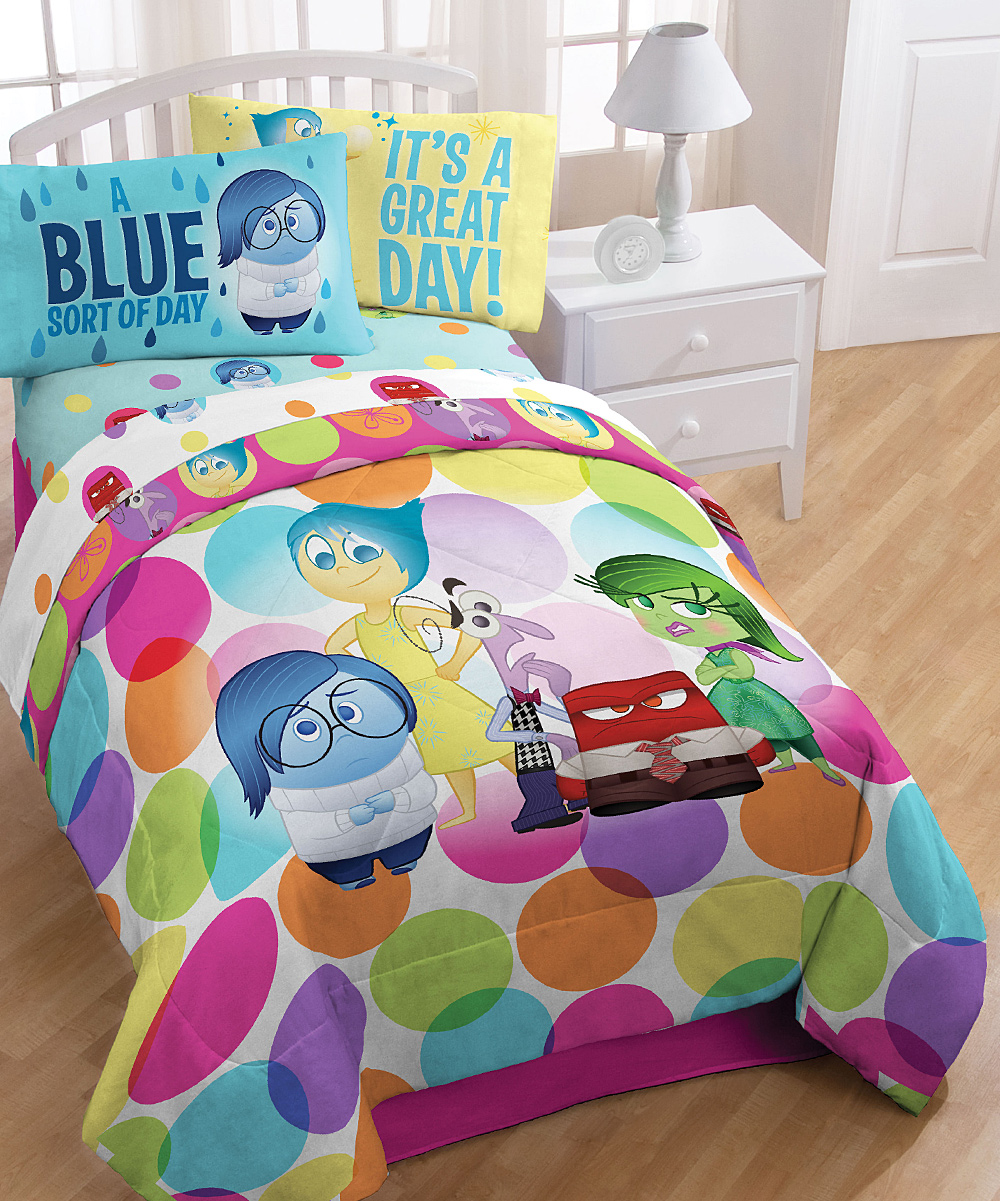 Disney Pixar INSIDE OUT Dots Bedding - character comforter and sheet set - featuring all 5 of Riley's emotions - Joy, Sadness, Anger, Disgust, and Fear