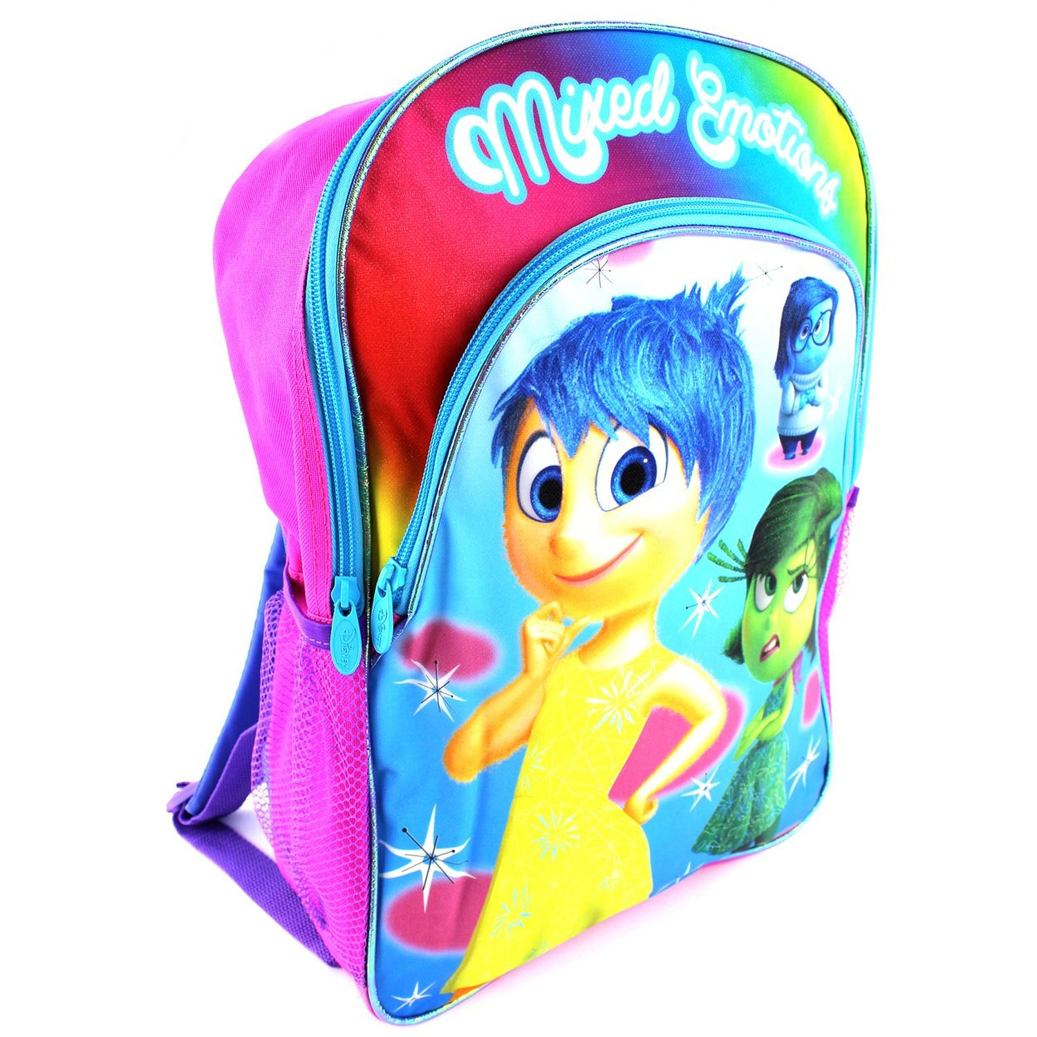"""16"""" INSIDE OUT Backpack - Mixed Emotions - Features Joy, Disgust, and Sadness with rainbow coloring and pink and purple accents."""