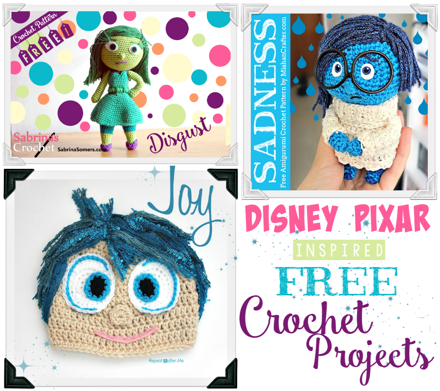Free Crochet Disney Amigurumi Patterns : FREE INSIDE OUT Movie Crochet Patterns - Joy and Disgust