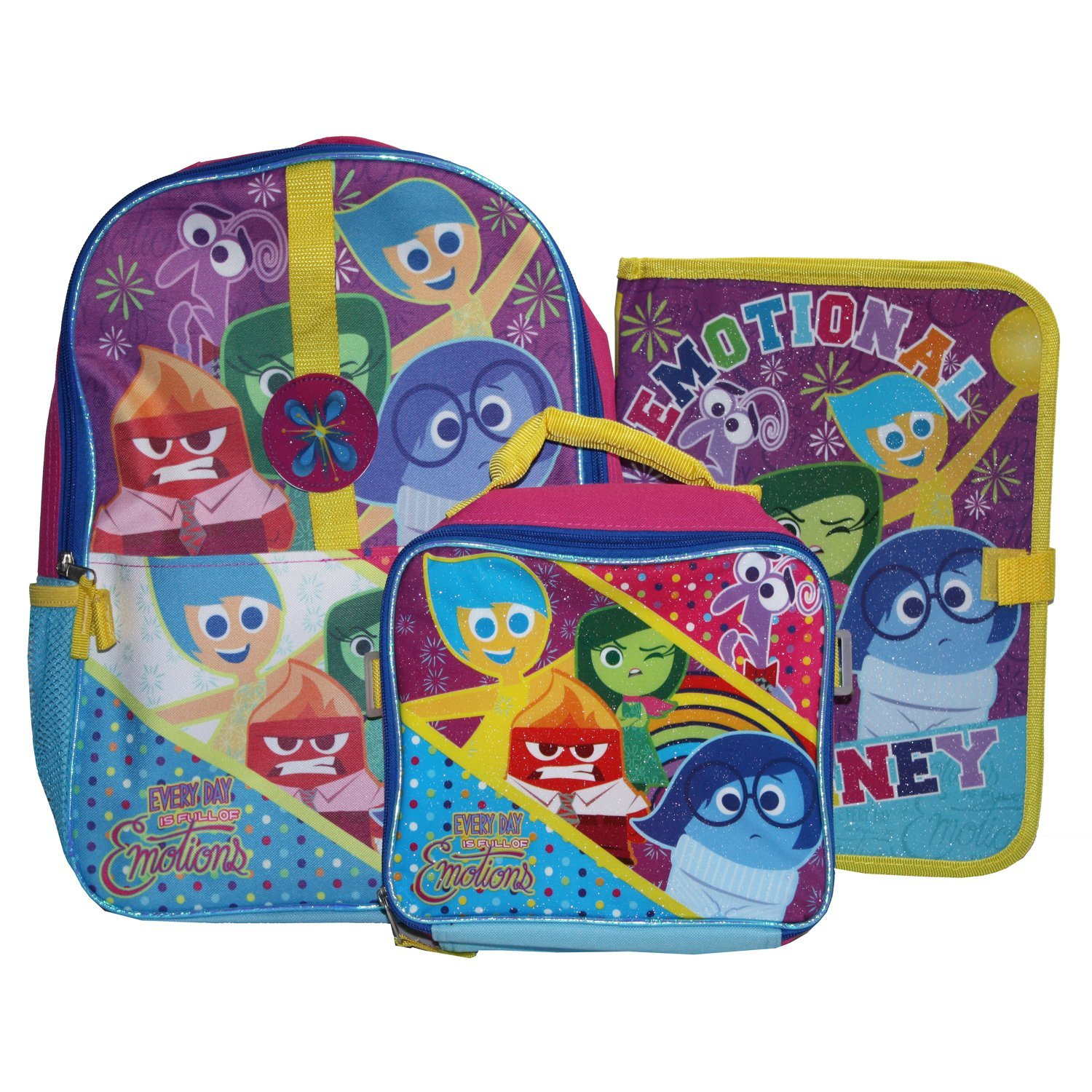 """Disney INSIDE OUT - 15"""" School Backpack, Detachable Lunch Bag, and  matching school Folder - All five Emotions"""