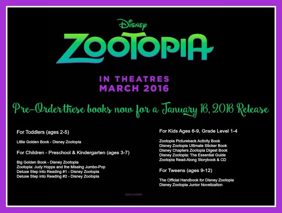 Disney Zootopia Books - pre-order now for a January 16, 2016 release date. Movie-tie books for toddlers to tweens