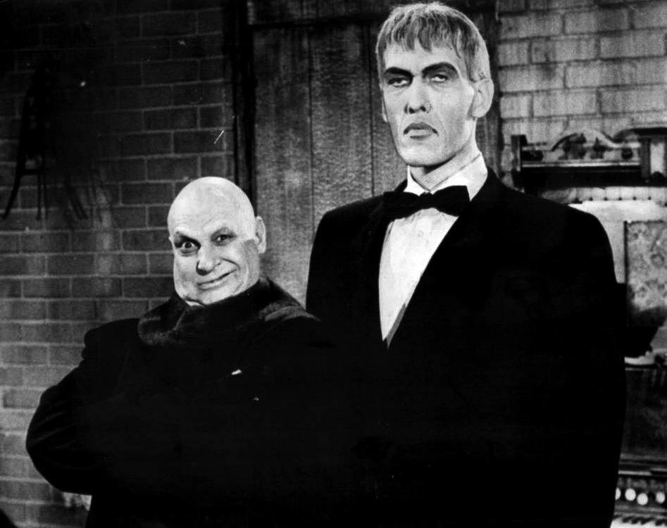 Great Group Halloween Costumes: The Addams Family - Publicity photo of Jackie Coogan (Uncle Fester) and Ted Cassidy (Lurch) from a personal appearance booking at Pleasure Island (Massachusetts amusement park, Wakefield Massachusetts).