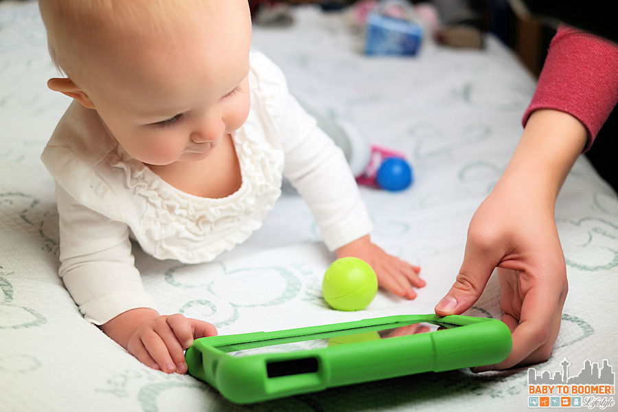 Mom and Baby with Amazon Fire - Amazon Fire Kids Edition - find out why this is the perfect tablet for families ad