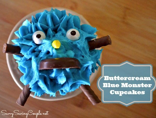 Buttercream Blue Monster Cupcakes