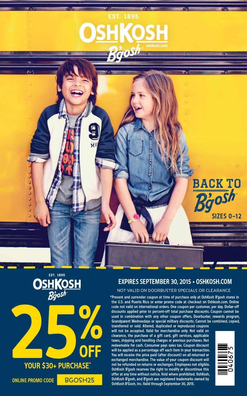 OshKosh 25% Off Coupon - ad